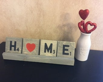 Scrabble Tile Reversible Love and Home Includes stand