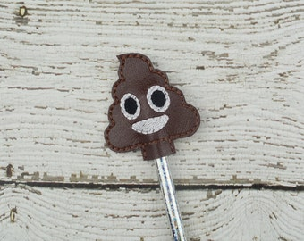 Poop Emoji Pencil Toppers - Party Favor - Classroom Prizes - Small Gift - Back to School