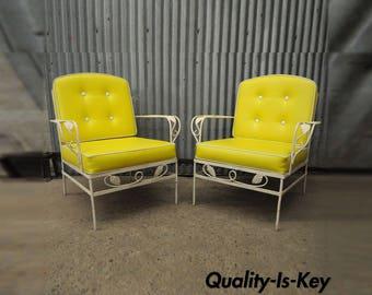 Pair Mid Century Outdoor Patio Wrought Iron Grape Vine Lounge Arm Chairs Woodard