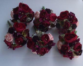 Bridesmaids Bouquets, Wedding Bouquet, Wedding Flowers, Artificial Wedding Bouquet, Bridal Flowers, Silk Flower Bouquet, Wine, Burgundy, Red