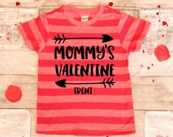 Mommy's Valentine Monogramed Name Shirt, Unisex Valentines Day shirt, Toddler Boy Valentine Shirt, Girls Valentine Shirt,Boy Valentine Shirt