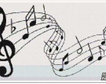 Music Cross Stitch Pattern, Music note Home decor x stitch pattern, Cross stitch Embroidery, Embroidery pattern