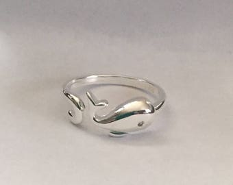 Whale sterling silver adjustable ring-whale ring-sterling silver whale ring