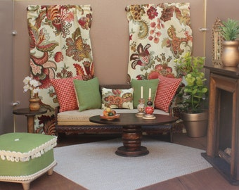 Barbie 1:6 Scale Dollhouse Accessories, Ottoman, Pillows, Curtains, Plants, Candlesticks Harvest/Fall Country Theme