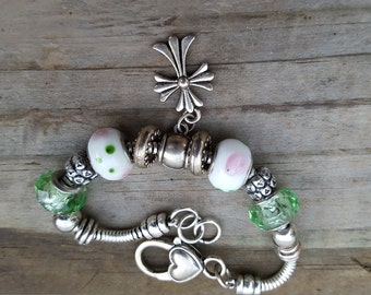 Silvertone Bracelet with Cross Charm Dangle