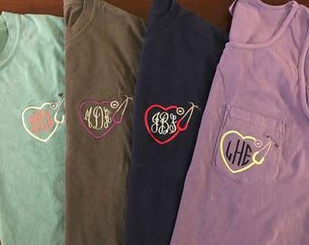 Nursing Stethoscope Monogram Comfort Colors Shirt