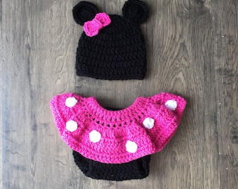 Minnie Mouse Inspired Diaper Cover Ruffled Skirt Hat Baby Girl Photo Prop Ready To Ship Made in the USA