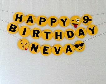 Emoji Birthday Banner - party supplies - decorations