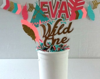 Tridal Birthday Centerpiece - wild one - boho party supplies - party decor - table decorations