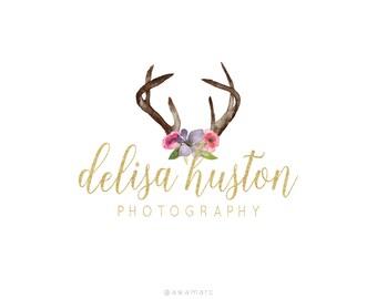 Logo Design, Custom Logo Design, Photography Logo, Premade Logo, Gold Logo Design, Reindeer Logo, Deer Flowers Logo, Calligraphy Logo Design