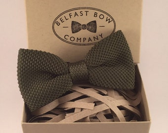 Handmade Knitted Bow Tie in Sage Green