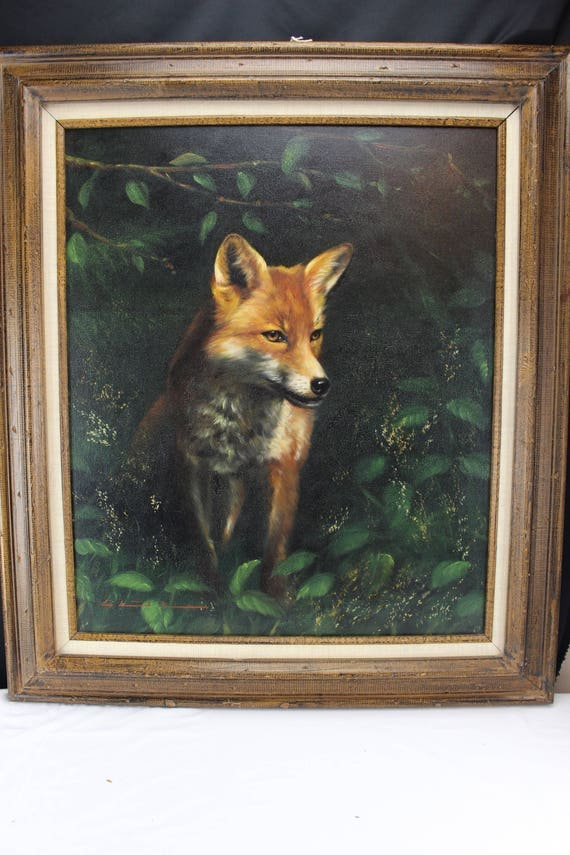 Fine Art Oil Painting of Red Fox, Wildlife, Animal, Nature Medium Size Marked Wood Frame Home decor