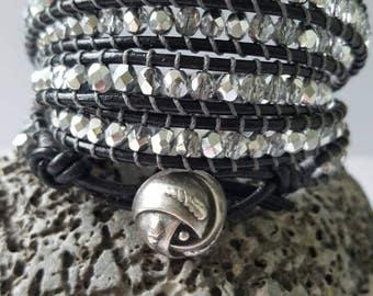 Multi wrap leather bracelet