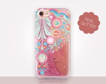 Floral Folk Art Glitter Phone Case Clear Case For iPhone 8 iPhone 8 Plus - iPhone X - iPhone 7 Plus - iPhone 6 - iPhone 6S - iPhone SE
