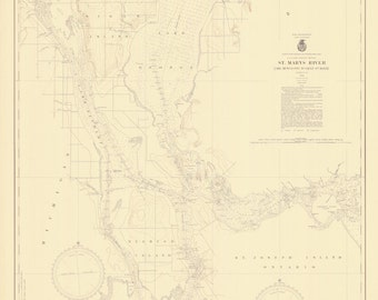 St. Mary's River Map - Lake Munuscong to Sault Ste Marie - 1946