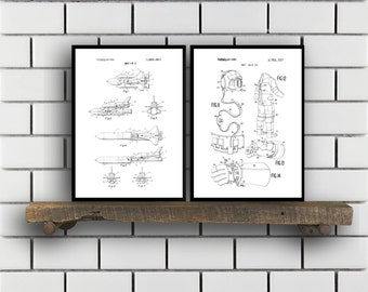 Space Patents Set of 2 Prints, Space Prints, Space Posters, Space Blueprints, Space Art, Space Wall Art, Space Prints, Space Art
