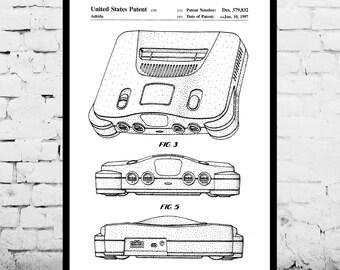 Nintendo 64 Poster, Nintendo 64 Patent, Nintendo 64 Print, Nintendo 64 Game Console, Nintendo 64 Decor, Nintendo 64 Player p220