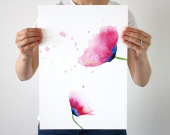 Poppy Art Print, Watercolour Floral Painting, Poppies Wall Art, Pink Poppies, A3 Print, Large Flower Print, Pink Poppies