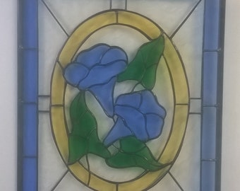 Blue Morning Glory Stained Glass Panel