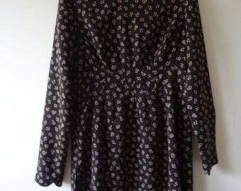 Floral / Dark Brown Vintage mini dress with long sleeves