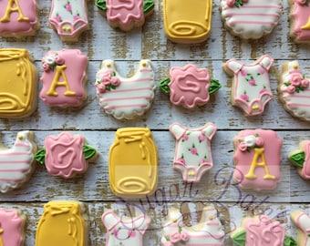 2 dozen Vintage Style Babyshower Decorated Cookies Set