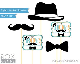 Oh Boy Mustache Baby Shower Party Cut outs Props Design, Instant Download
