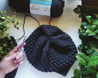 Dark Gray Crochet Hat, Slouchy Beanie, Slouchy Hat, Handmade