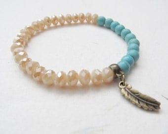 Feather bracelet, boho bracelet, turquoise bracelet
