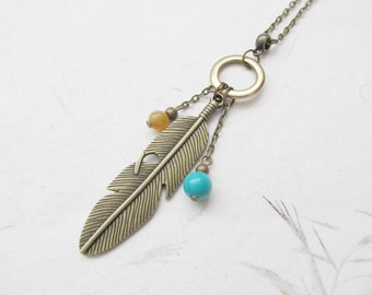 Feather necklace, boho necklace, bohemian necklace, bronze necklace