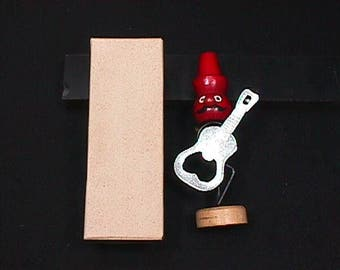 Vintage 1960's Bar Musician Red Head Guitar Player  Bottle Opener in Original Box