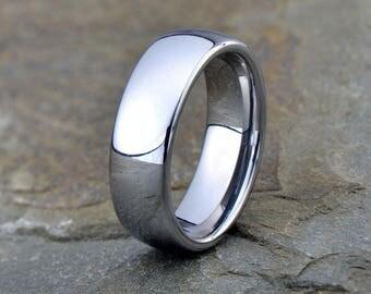 Mens Tungsten Wedding Band, Polish Tungsten , Anniversary Ring, Comfort Fit, 7mm, wedding ring, Custom laser engraving, wedding ring