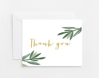 Printable Thank You Card, Palm Leaves, Simple (390)