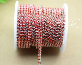 10 yard ss12 colour rhinestone close trim chain red