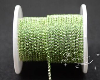 10 yard ss6 colour rhinestone close trim chain light green