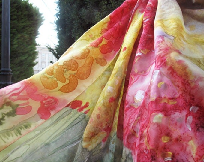 Natural Silk Scarf. Hand painted. Silk Scarf handmade
