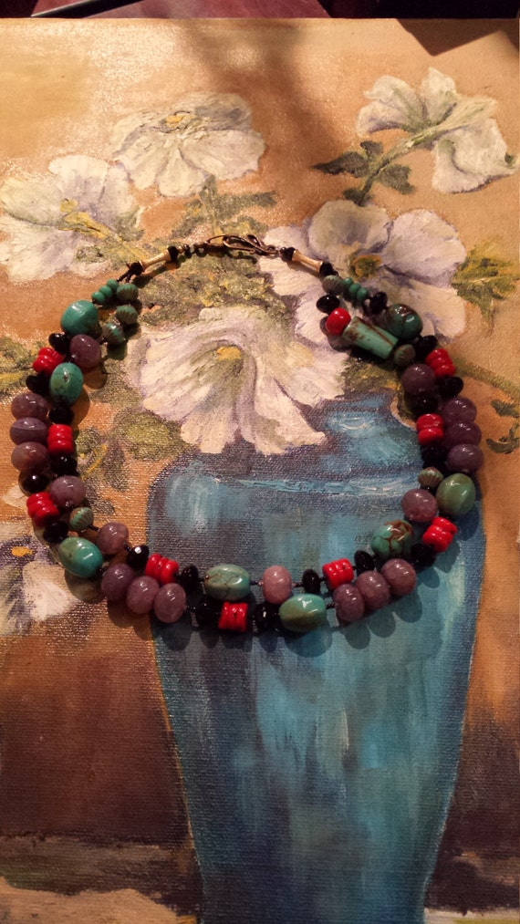 Turquoise, coral, black onyx two strand necklace