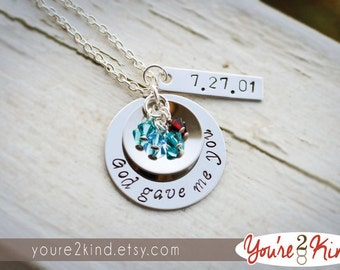 God Gave Me You Necklace with Optional Date Charm