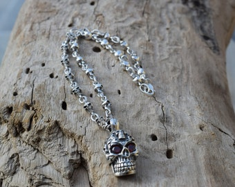 Mens .925 Sterling Silver Skulls chain with skull Pendant with red zirconias handmade.