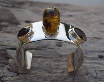 Men 925 Sterling Silver Amber skull and smokeed quartz cuff Bracelet Handmade.