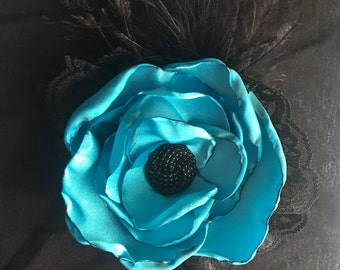 Teal satin flower for hair or clothing