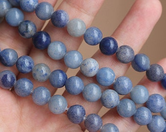 Blue Aventurine Smooth Round Beads 6mm 8mm 10mm 12mm, 15 Inch Full Strand