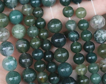 6-12mm Moss Agate, Smooth Round Beads, 15 Inch Full Strand ( 6 mm 8mm 10mm 12mm )