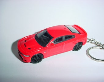 3D 2016 Dodge Charger HELLCAT custom keychain by Brian Thornton keyring key chain finished in red hood opens diecast
