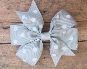 Gray Hair bow - Hair Bow - Polka Dot Bow - Girls hair bow - Small Pinwheel Bow - Small Bow - Basic Hair Bow - Bow - Basic hair clip - Clip