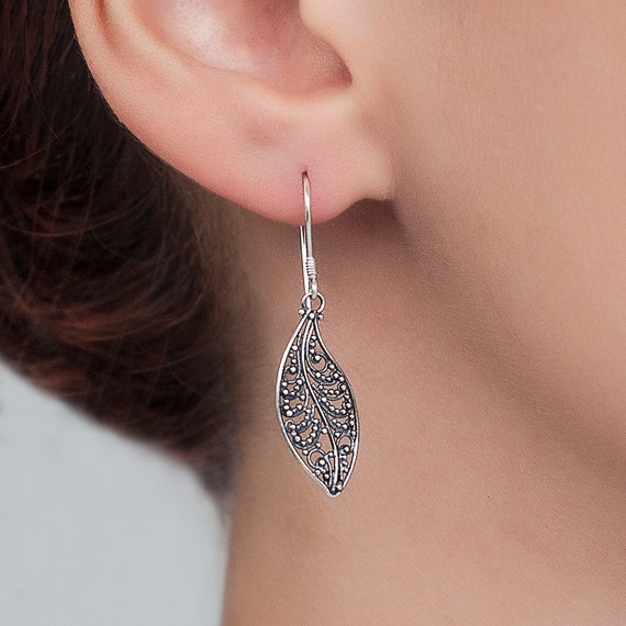 Sterling silver filigree earrings. Unique bohemian, hand made, traditional filigree earrings.