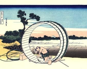"Japanese Ukiyo-e Woodblock print, Hokusai, ""Thirty-six Views of Mount Fuji, Fuji View Field in Owari Province"""