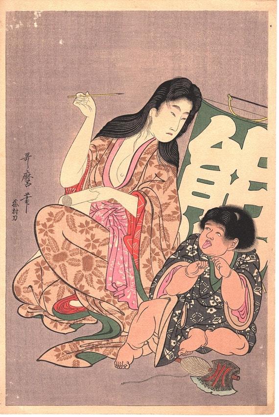 "Japanese Ukiyo-e Woodblock print, Utamaro, ""Yamauba and Kintarô with a Kite Inscribed ""Bear"""
