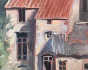 Medieval Village of Orlagues, original en plein air oil Painting by Canadian Artist Kindrie Grove