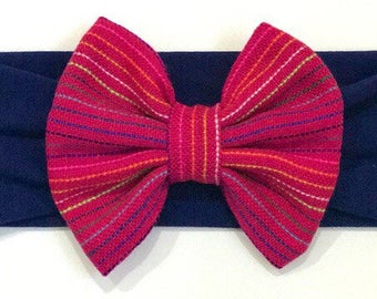 Mexican / Ethnic Bow Headband in HOT PINK, Mexico