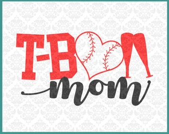 CLN0250 T-Ball T Ball Mom Momma Mother Play Youth League SVG DXF Ai Eps PNG Vector Instant Download Commercial Cut File Cricut Silhouette